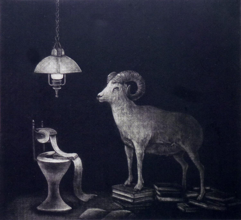 Ami Yamashiro, habit, 19.5x21.5cm, Mezzotint