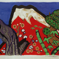 Tamako Kataoka [Haku Hisashi of Red Fuji], Lithograph, 42.8cm x 54.0cm