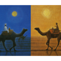 Ikuo Hirayama [Getsumei sabaku iku (left)  (Into the moonlit desert) ,Asahi rakuda iku (right) (The Camel departs in the morning sun) Two piece set], Lithograph, 45.5cm x 35.5cm
