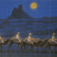 Ikuo Hirayama [Gekkō sabaku rakuda gyō(A camel caravan in the moonlit desert)], Lithograph, 44.2cm x 60.5cm