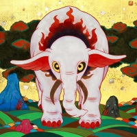 ツジモトクキ「浄火紅白象図」F10