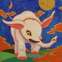 ツジモトコウキ「紅白象図 ~導~」F3