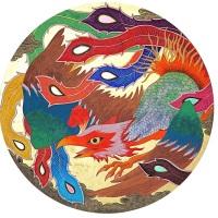 ツジモトコウキ「鳳凰図」円形20号