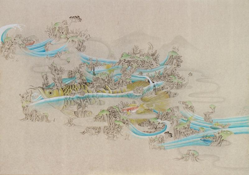 「混在」M15(652×455mm)墨、和紙、水干絵具、アクリル