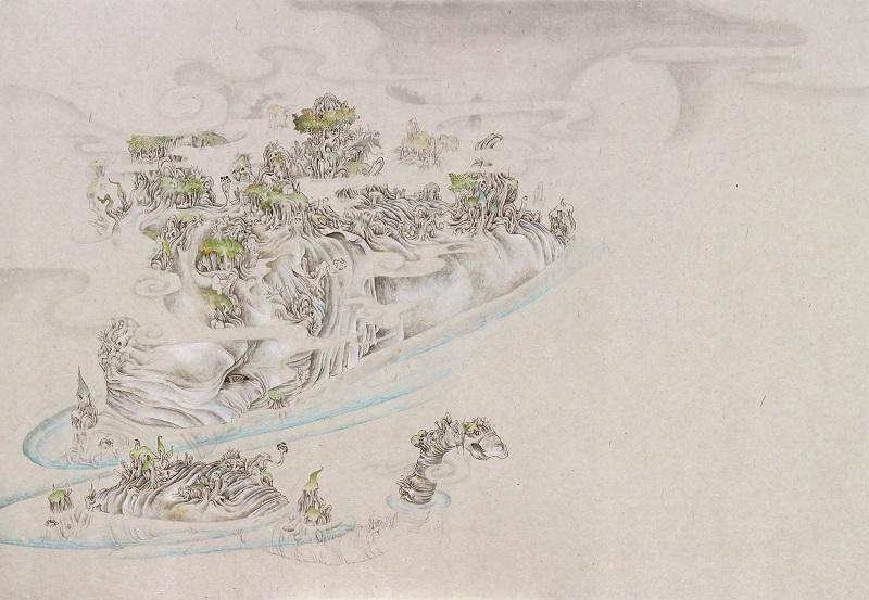 「象山」M15(652×455mm)墨、和紙、水干絵具、アクリル