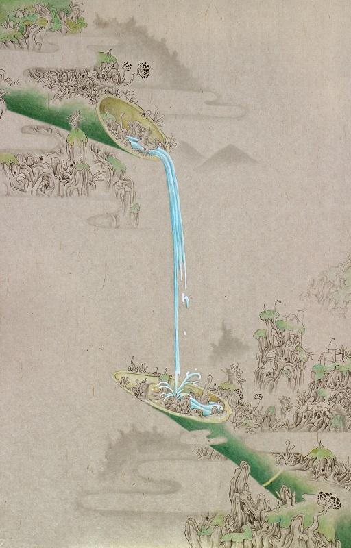 「鹿威し」M10(530×333mm)墨、和紙、水干絵具、アクリル