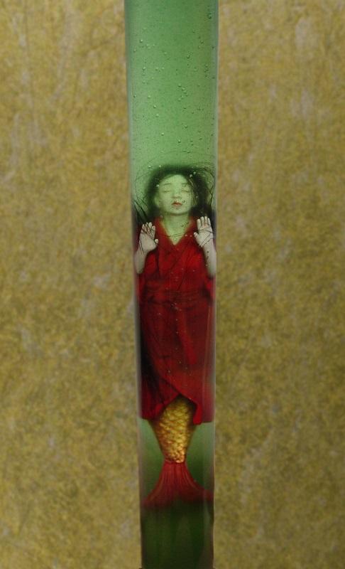 「根来管人魚」(18センチ、無発泡ウレタン樹脂、エポキシ樹脂)