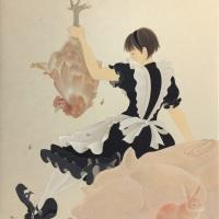 熊谷曜志「肉食主義」F6号 日本画