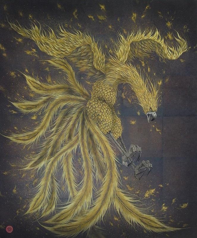 金澤隆「朱雀の燈」F20号