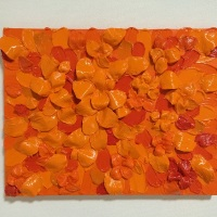 "Emiko Aoki, ""INFINITY Orange No 2"", 31.8×40.9cm, acrylic paint on canvas"