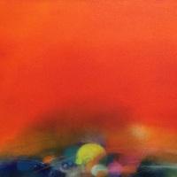 """Emiko Aoki """"fleeting, strong"""" 40.9×53.0cm, oil, acrylic, pastel on canvas"""
