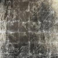 Takashi SETO, City, sometimes waiting #3, 70.0×100.0 cm, silk,silver leaf, lacquer, dye