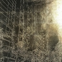 Takashi Seto, City, sometimes waiting #2, 70.0×100.0 cm, silk,silver leaf, lacquer, dye