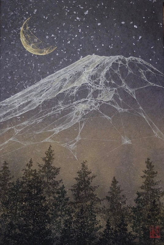 Noriyuki Kobayashi, Mountain under a starlit sky, mineral pigments on paper, 40.9×27.3cm