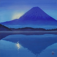 Hiroki Takahashi, Gunjou no TsukiFuji (Mt. Fuji and the Moon in Blue), S6 (410 x 410 mm)
