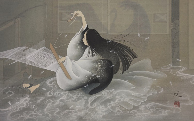 Yoji Kumagai, Weaving Crane, 2019, 33.3 × 53.0 cm