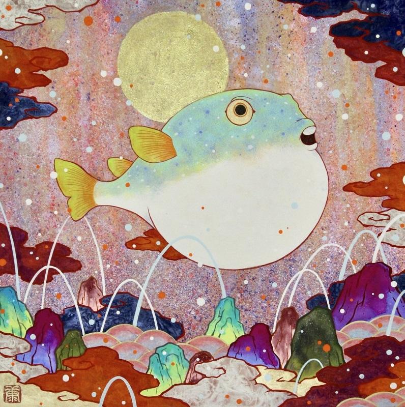Kouki Tsujimoto, Auspicious Blowfish painting: Fukuuki, 2019, 33.3 x 33.3 cm