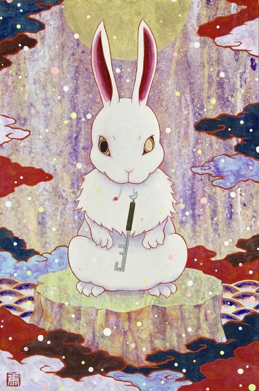 Kouki Tsujimoto, Auspicious White Rabbit painting: Tsukikagi-zu, 2019, 41 x 27.3 cm