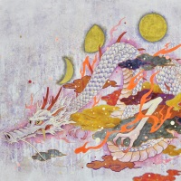 Kuki Tsujimoto, Auspicious White Dragon painting: Getsuhyou-zu, 2019, 97 x 145.5 cm