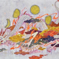 Koki Tsujimoto, Auspicious White Dragon painting: Getsuhyou-zu, 2019, 97 x 145.5 cm