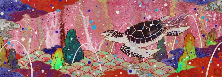 Koki Tsujimoto, Auspicious Turtle: A Long Dream, 2019, 15.8 × 45.4 cm