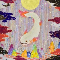 Koki Tsujimoto, Auspicious White Catfish: Tsukihiki, 2019, 45.5 × 45.5 cm