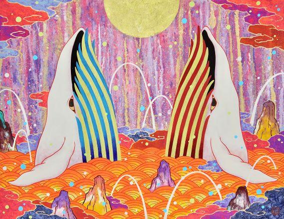 Koki Tsujimoto, Auspicious Red and White Twin Whales: Wa, 2019, 41 × 53 cm