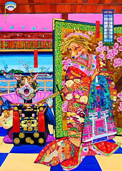 Yukiko Hata, Fox's Brothel, 2017, 100×72.7 cm, Oil on canvas