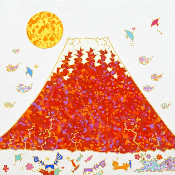Yuki Koyano, Red Fuji, 2019, h65.2×w65.2 cm
