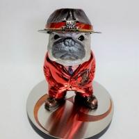 Yoshiro Iwaisako, CHU-KEN - French Bulldog, 2019, h21×w18×d18 cm, Copper, brass, silver, stainless, nickel plate, metal leaf, resin, ceramics