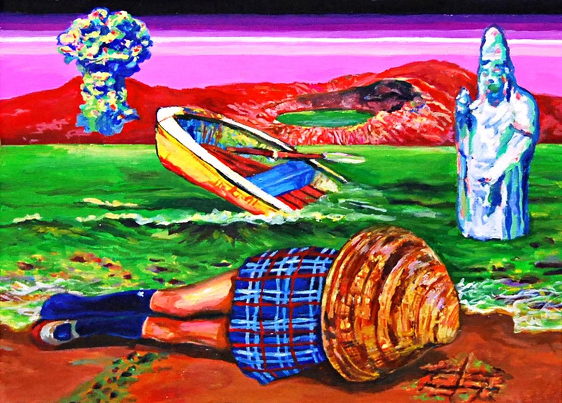 Yukiko Hata, Wanna Go Home, 2019, h24.2×33.3 cm, Oil on canvas