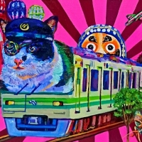 Yukiko Hata, Cat Train, 2018, 41×31.8 cm, Mixed media