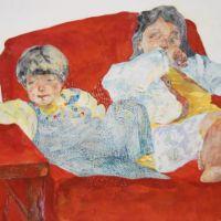 Yo Ishihara, Red sofa, 2019, 50 x 60.6cm