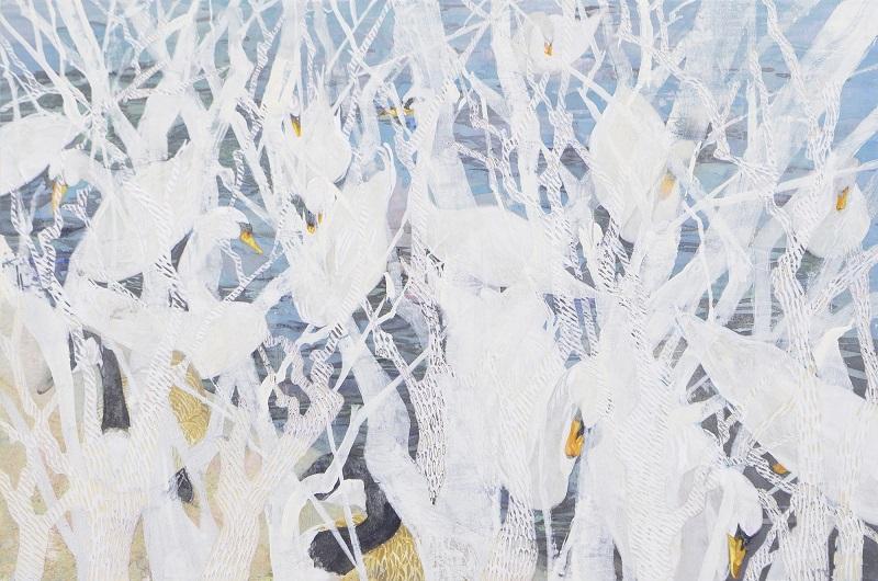 Yo Ishihara, Jungle in your eyes (swan), 2018, 45.5×60.6 cm
