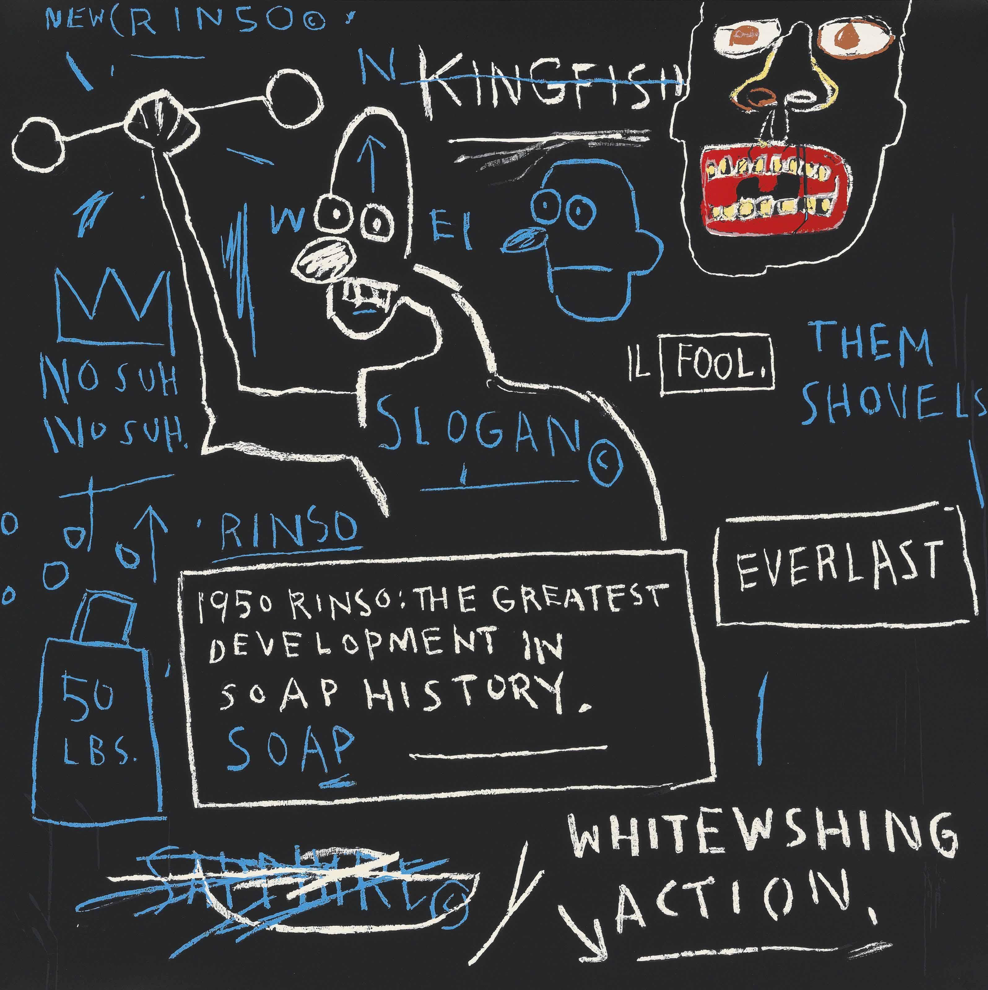 Jean-Michel Basquiat, Rinso, Screen print, 2001, ed 85, 101.6×101.6cm