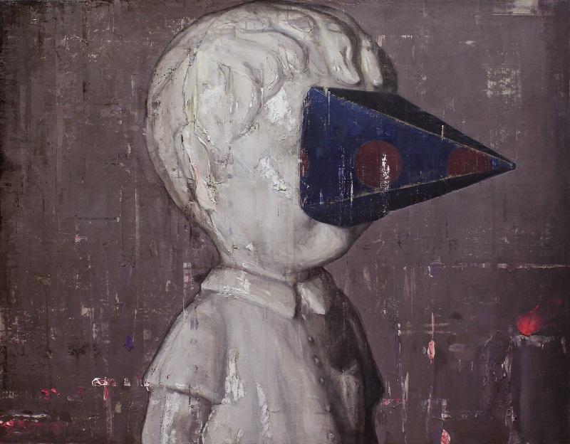 Yohei Yashima, Blind Boy, 2018, 91x116.7 cm,  Oil on hemp mounted on wood panel