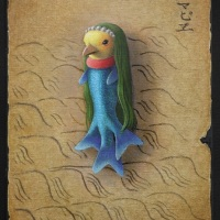 Sold Out❢Akifumi Okumura, Codex of Amabie, 2020, 8.9 x 6.2 inches (22.7 x 15.8 cm), Oil on canvas