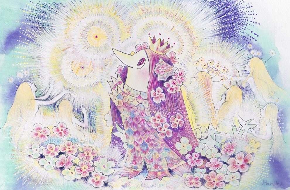 Haruki Yamaba, Glowing Amabie and Spirits, 2020, 16.4 x 21.2 inches (41.6 x 53.8 cm), Japanese ink, ink, mineral pigments, suihi pigments, suihi paint, gofun, sunago pigments on paper