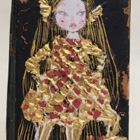 NEW!!Eri Iwasaki, Amabie-chan Contains COVID-19, 2020, 3.9 x 2.2 x 0.4 inches (h9.8 x w5.7 x d0.9 cm), Mineral pigment, gofun, gold leaf, gold paint, oxidized silver leaf on cedar wood panel
