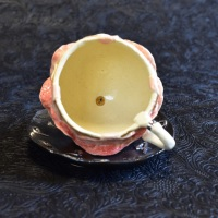 title   Rose cup and saucer (image 2/3) year :2020 image size:h8.5×11×11 cm materials:Ceramic price  :44,000 JPY incl. consumption tax note  :Box is sold separately