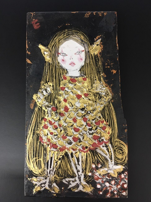 Sold Out❢Eri Iwasaki, Amabie-chan Contains COVID-19, 2020, 4.4 x 2.4 x 0.2 inches (11.2 x 6.2 x 0.6 cm), Mineral pigment, gofun, gold leaf, gold paint, oxidized silver leaf on cedar wood panel
