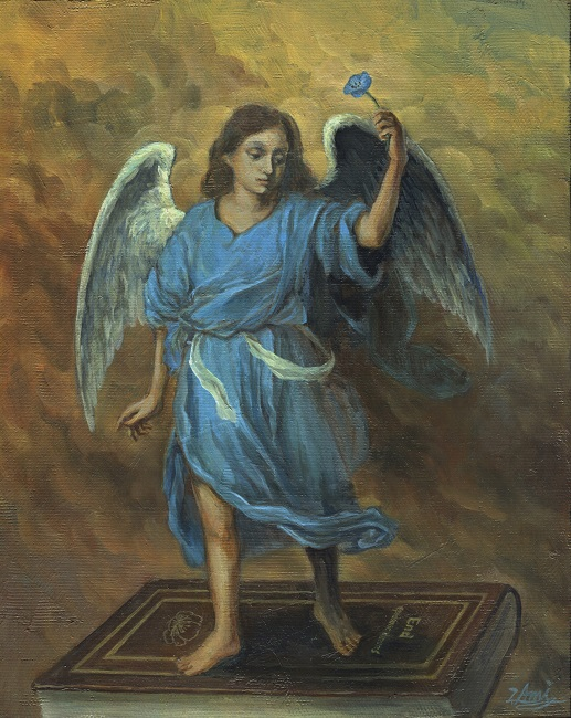 Ami Yamashiro, The Angel Who Heals, 2020, 10.7 x 9.5 inches (27.3 x 24.2 cm), Oil on canvas