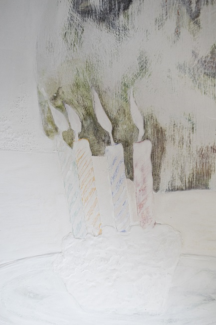 title: Invalid Signal: birthday (detail 3)year: 2016size:65x91 cmmaterials: mineral pigment, suihi on cottonprice: 277,200 JPY incl. consumption taxnote: unframed