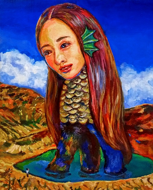 NEW!! SOLD OUT❢Yukiko Hata, Amabie in Okama, 2020, 10.7 x 8.7 inches (27.3 x 22 cm), Oil on canvas