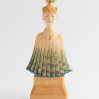 Hirokazu Ichii, Himerenge, 2020, h22×w10×d6cm, cypress wood, natural mineral pigment, ink, gold paint, gold leaf