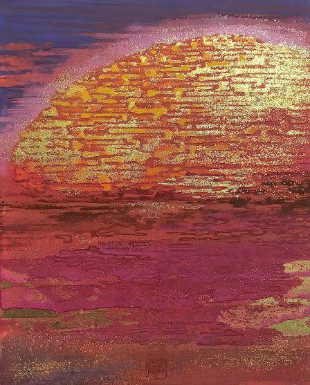 Raizo Yamasaki, Longing, 2020, 27.3×22 cm, Mineral pigment, mud pigment, Bologna plaster on wood panel