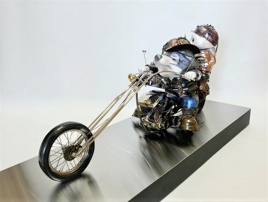 Yoshiro Iwaisako, KYO-KEN: Legend Harley-Davidson with Cat - No.0002, 2021, h31×w24×d69cm, Copper, brass, silver, stainless, nickel plate, metal plate, resin, ceramics