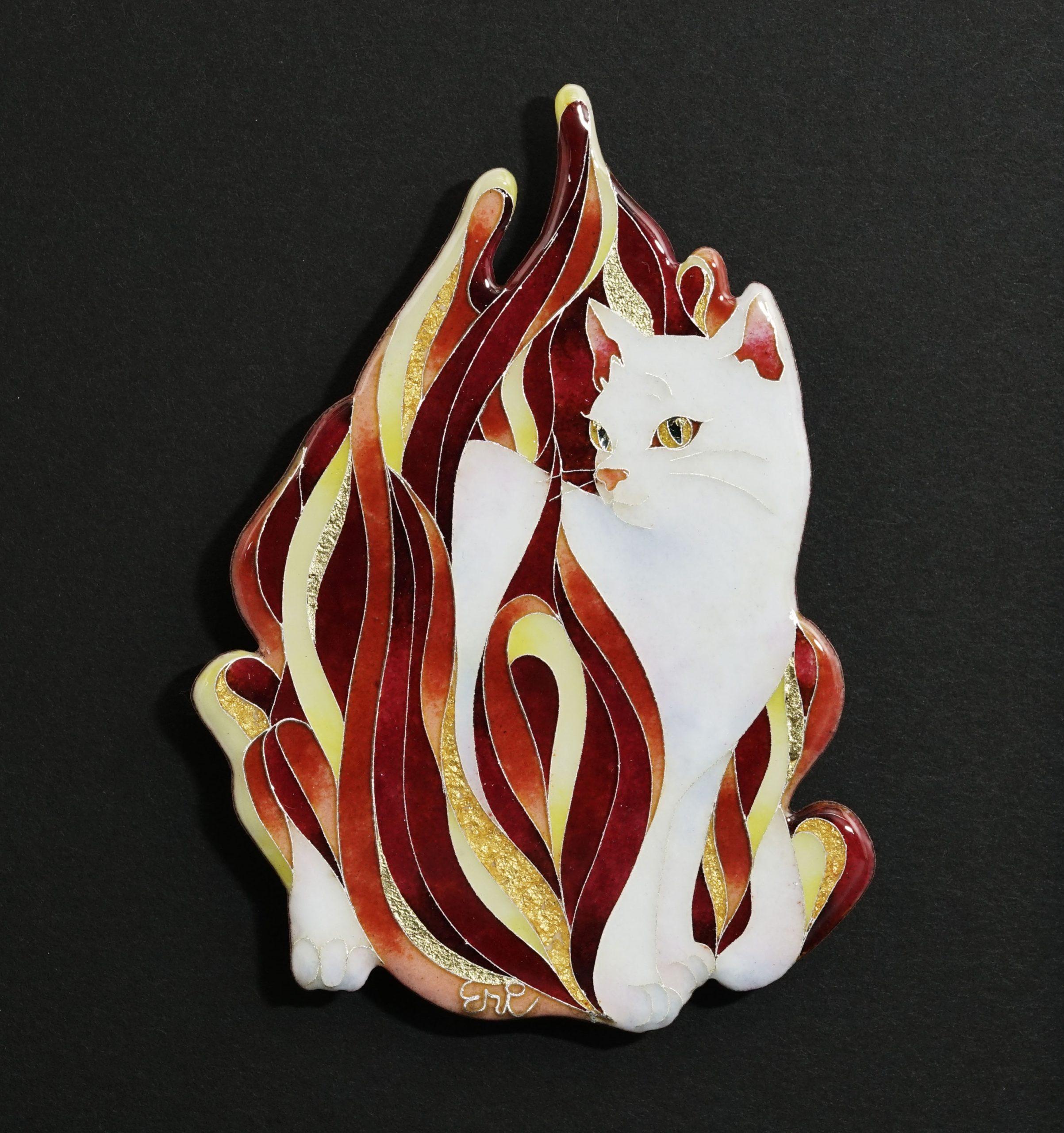 Eri Muranaka, Fire: Ka, 2021, Cloisonné enamel ware (silver enamel,  glass glaze, gold leaf on copper plate)