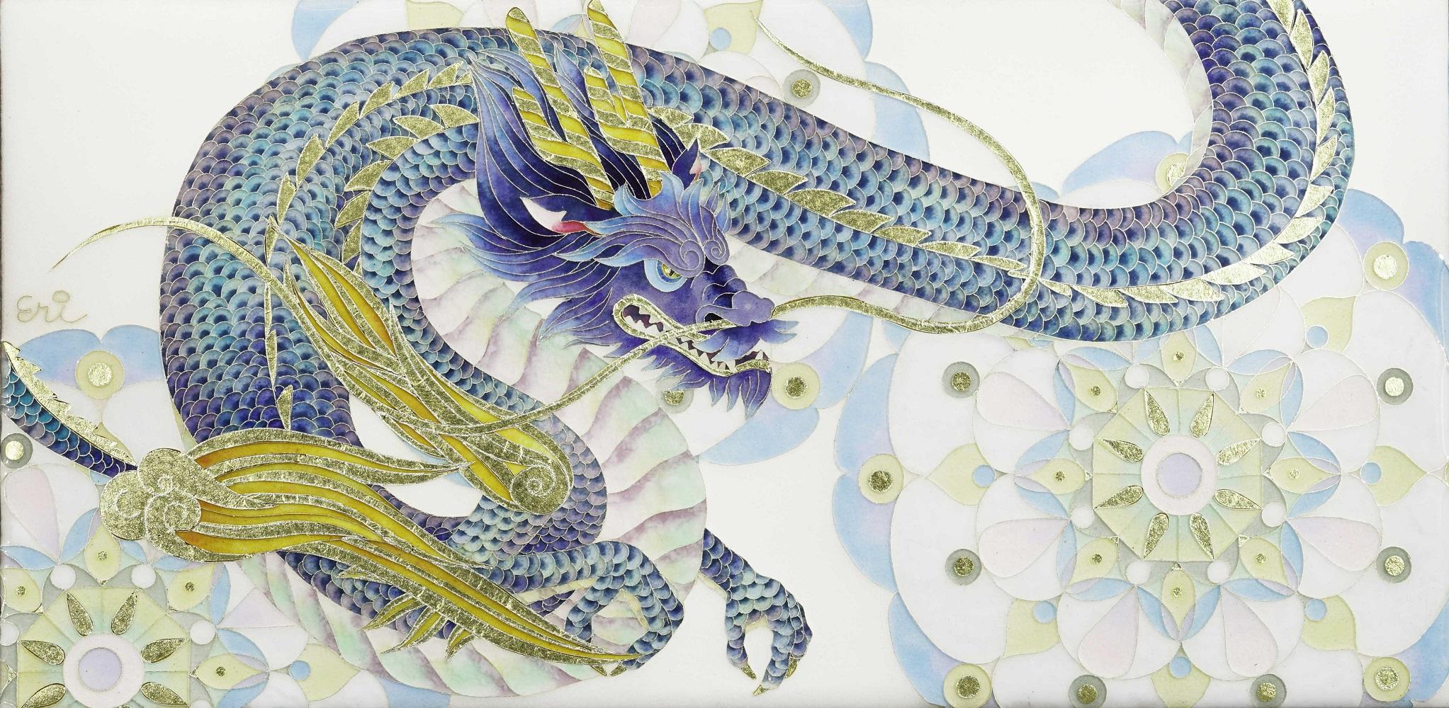 Eri Muranaka, Azure Dragon of the East, 2021, 120×240×5mm, Cloisonné enamel ware (silver enamel,  glass glaze, gold leaf on copper plate)