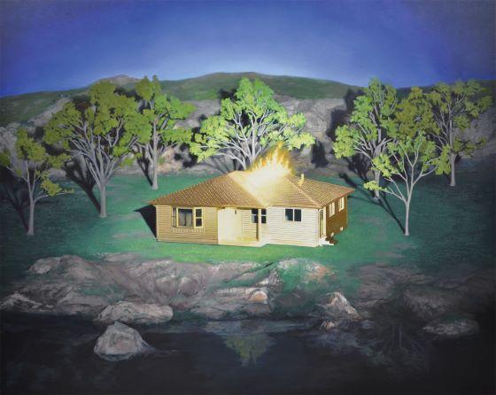 Motohide Takami, Burning House of the Three Worlds, 2021, 130×163cm, oil on panel